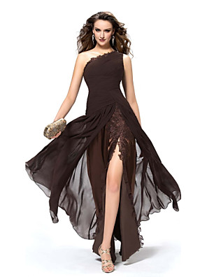 cheap Prom Dresses-A-Line Elegant Sexy Party Wear Formal Evening Dress One Shoulder Sleeveless Floor Length Chiffon with Split Lace Insert 2020