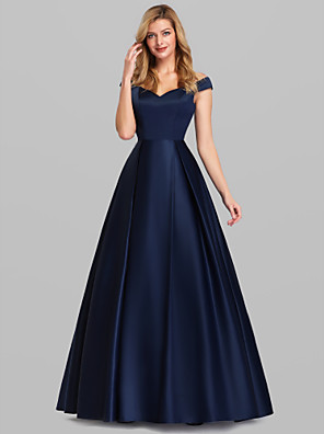 cheap Special Occasion Dresses-Ball Gown Elegant Blue Quinceanera Prom Dress Off Shoulder Short Sleeve Floor Length Satin with Pleats 2020
