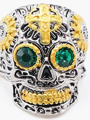 cheap Sport Watches-Men's Ring 1pc Gold Imitation Diamond Alloy irregular Vintage Punk Trendy Daily Jewelry Vintage Style Cross Skull