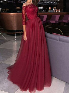 cheap Evening Dresses-A-Line Elegant Formal Evening Dress Off Shoulder Half Sleeve Sweep / Brush Train Lace Tulle with Pleats Beading 2020