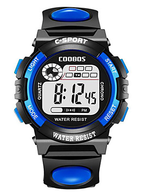 cheap Sport Watches-Kids Digital Watch Digital Outdoor Water Resistant / Waterproof Rubber Black / Blue / Red Digital - Black Blue Yellow One Year Battery Life / Chronograph