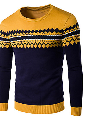 cheap Men's Sweaters & Cardigans-Men's Striped Long Sleeve Pullover Sweater Jumper, Round Neck Wine / Yellow / Blue US32 / UK32 / EU40 / US34 / UK34 / EU42 / US36 / UK36 / EU44