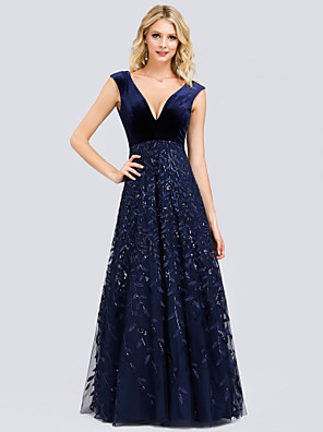 cheap Prom Dresses-A-Line Elegant Prom Dress Plunging Neck Sleeveless Floor Length Lace Velvet with Pleats Sequin Appliques 2020