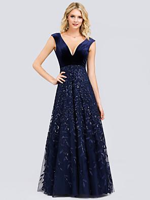 cheap Evening Dresses-A-Line Elegant Prom Dress Plunging Neck Sleeveless Floor Length Lace Velvet with Pleats Sequin Appliques 2020