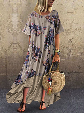 cheap Print Dresses-Women's Plus Size Maxi Chiffon Dress - Short Sleeve Color Block Print Loose Blue Green Gray M L XL XXL XXXL XXXXL XXXXXL / Cotton