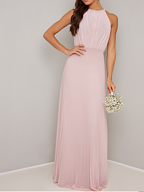 cheap Bridesmaid Dresses-A-Line Jewel Neck Floor Length Chiffon Bridesmaid Dress with Pleats