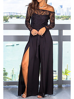 cheap Prom Dresses-Jumpsuits Chic & Modern Formal Evening Dress Off Shoulder Long Sleeve Floor Length Chiffon Lace with Sash / Ribbon Lace Insert Split Front 2020