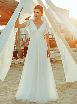 cheap Wedding Dresses-A-Line Wedding Dresses V Neck Floor Length Lace Short Sleeve Simple Casual Boho Illusion Detail Backless with Lace 2020