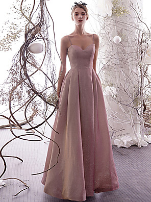 cheap Evening Dresses-A-Line Elegant Sparkle & Shine Prom Dress Spaghetti Strap Sleeveless Floor Length Sequined with Pleats 2020