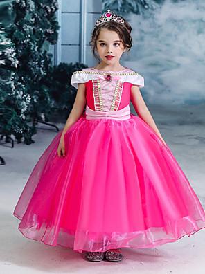 お買い得  女児 ドレス-子供 女の子 活発的 甘い ソリッド 半袖 ミディ ドレス フクシャ