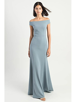 cheap Prom Dresses-Sheath / Column Off Shoulder Sweep / Brush Train Polyester Bridesmaid Dress with