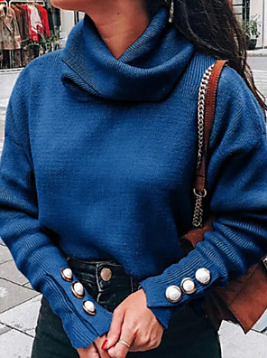 cheap Girls' Dresses-Women's Solid Colored Long Sleeve Pullover Sweater Jumper, Turtleneck Wine / Light gray / Blue S / M / L