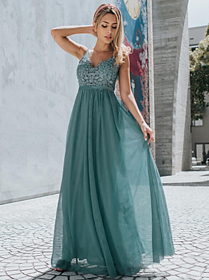 cheap Prom Dresses-A-Line Empire Blue Holiday Prom Dress V Neck Sleeveless Floor Length Chiffon Lace with Appliques 2020