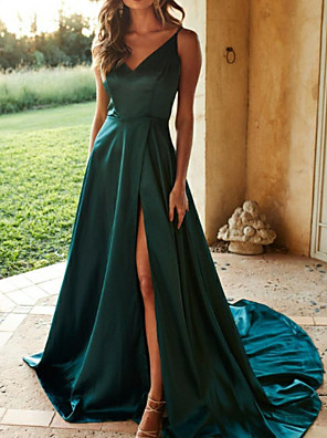 cheap Evening Dresses-A-Line Open Back Formal Evening Dress Spaghetti Strap Sleeveless Sweep / Brush Train Satin with Pleats Split Front 2020