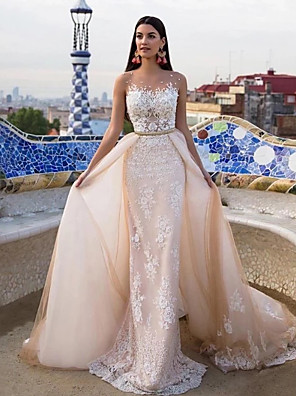cheap Wedding Dresses-Mermaid / Trumpet Wedding Dresses Jewel Neck Chapel Train Lace Tulle Lace Over Satin Regular Straps Formal See-Through with Sashes / Ribbons Pearls Appliques 2020