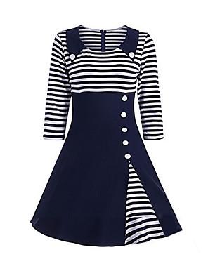 cheap Women's Dresses-Women's Plus Size Swing Dress - 3/4 Length Sleeve Striped Shirt Collar Wine Black Navy Blue S M L XL XXL XXXL XXXXL