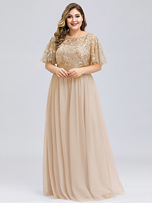 cheap Evening Dresses-A-Line Plus Size Gold Prom Formal Evening Dress Jewel Neck Short Sleeve Floor Length Chiffon Lace with Appliques 2020