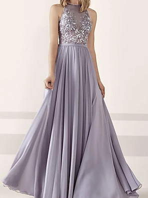 cheap Prom Dresses-A-Line Beautiful Back Prom Dress Halter Neck Sleeveless Floor Length Chiffon Lace with Buttons Appliques 2020