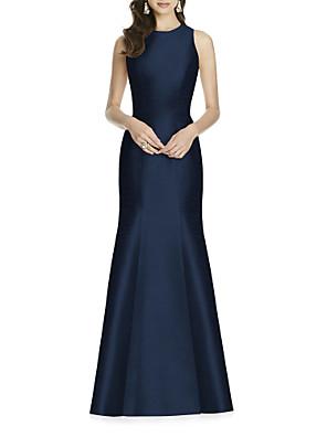 cheap Evening Dresses-Sheath / Column Elegant Formal Evening Dress Jewel Neck Sleeveless Floor Length Satin with Bow(s) 2020