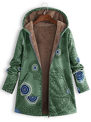 cheap Women's Outerwear-Women's Floral Long Parka, Polyester Red / Green / Blue S / M / L