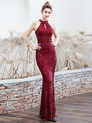 cheap Evening Dresses-Mermaid / Trumpet Elegant Sparkle & Shine Formal Evening Dress Halter Neck Sleeveless Floor Length Sequined with Sash / Ribbon 2020