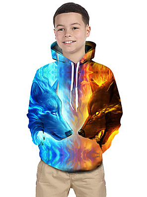 cheap Boys' Tops-Kids Toddler Boys' Active Basic Wolf Geometric 3D Animal Print Long Sleeve Hoodie & Sweatshirt Light Blue