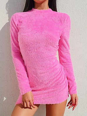 cheap Women's Dresses-Women's Mini Bodycon Dress - Long Sleeve Solid Colored Crew Neck Purple Blushing Pink Orange S M L