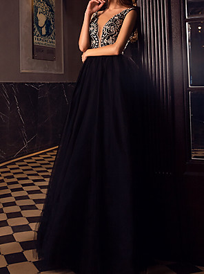 cheap Prom Dresses-A-Line Elegant Prom Dress Plunging Neck Sleeveless Floor Length Tulle with Beading 2020