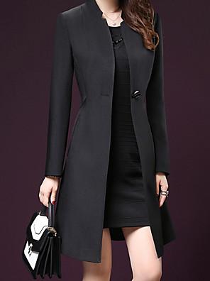 cheap Women's Coats & Trench Coats-Women's Fall & Winter Coat Daily Basic Long Solid Colored Black S / M / L