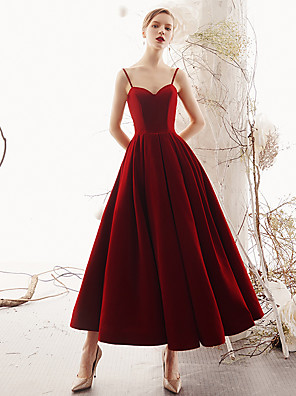 cheap Special Occasion Dresses-A-Line Open Back Vintage Inspired Holiday Cocktail Party Dress Spaghetti Strap Sleeveless Tea Length Velvet with 2020