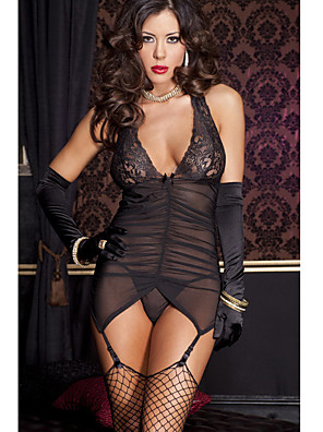 cheap Socks & Hosiery-Women's Lace Backless Bow Gartered Lingerie Suits Nightwear Jacquard Solid Colored Embroidered Black S M L