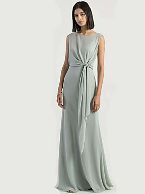 cheap Bridesmaid Dresses-Sheath / Column Jewel Neck Floor Length Chiffon Bridesmaid Dress with