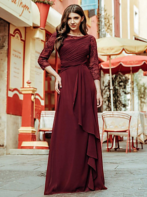 cheap Mother of the Bride Dresses-A-Line Empire Red Wedding Guest Formal Evening Dress Jewel Neck 3/4 Length Sleeve Floor Length Chiffon Lace with Draping Lace Insert 2020