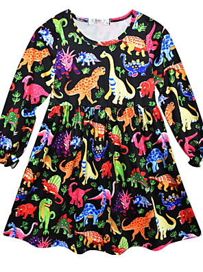 cheap Girls' Dresses-Kids Girls' Geometric Dress Black