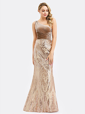 cheap Evening Dresses-Mermaid / Trumpet Sparkle Gold Engagement Formal Evening Dress One Shoulder Sleeveless Floor Length Velvet with Ruched Sequin 2020