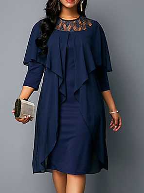 cheap Mother of the Bride Dresses-Sheath / Column Mother of the Bride Dress Plus Size Jewel Neck Knee Length Chiffon Half Sleeve with Lace Ruffles 2020 Mother of the groom dresses