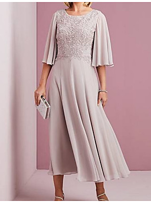 cheap Mother of the Bride Dresses-A-Line Mother of the Bride Dress Elegant & Luxurious Jewel Neck Ankle Length Chiffon Half Sleeve with Crystals Ruching 2020