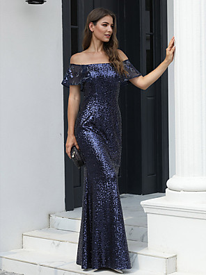 cheap Evening Dresses-Mermaid / Trumpet Open Back Formal Evening Dress Off Shoulder Short Sleeve Floor Length Tulle Sequined with 2020