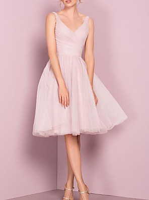 cheap Bridesmaid Dresses-A-Line V Neck Knee Length Tulle Bridesmaid Dress with Pleats