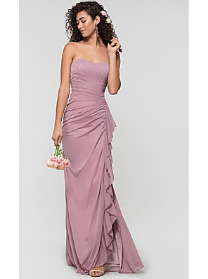 cheap Bridesmaid Dresses-Sheath / Column Sweetheart Neckline Sweep / Brush Train Chiffon Bridesmaid Dress with Split Front / Ruching / Ruffles / Open Back