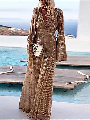 cheap Evening Dresses-Women's Maxi A Line Dress - Long Sleeve Glitter Shine Glitter Stripe Deep V Elegant Cocktail Party Prom Birthday Scrunch Sleeves Khaki S M L XL