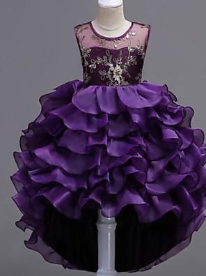 baratos Vestidos para Meninas-Infantil Para Meninas Floral Vestido Azul
