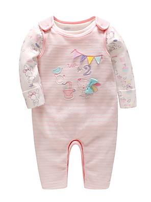 cheap Baby Girls' One-Piece-Baby Girls' Street chic Print Long Sleeve Romper Blushing Pink