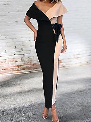 cheap Women's Dresses-Women's Maxi Blue Black Dress Basic Sheath Color Block V Neck S M