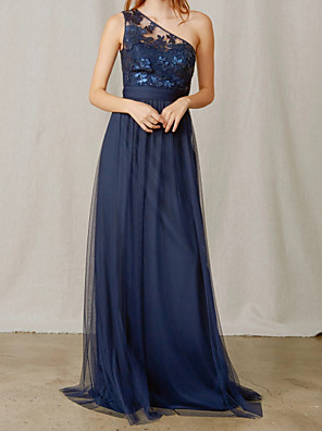 cheap Bridesmaid Dresses-A-Line One Shoulder Floor Length Chiffon / Tulle Bridesmaid Dress with Appliques