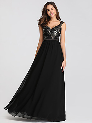 cheap Evening Dresses-A-Line Beautiful Back Black Wedding Guest Formal Evening Dress Sweetheart Neckline Sleeveless Floor Length Lace with Beading Appliques 2020