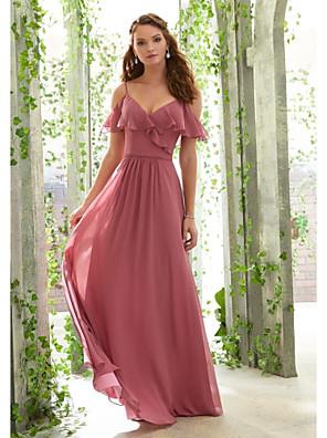 cheap Bridesmaid Dresses-A-Line Spaghetti Strap Floor Length Chiffon Bridesmaid Dress with Ruching / Ruffles / Open Back