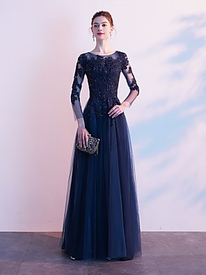 cheap Mother of the Bride Dresses-A-Line Elegant Formal Evening Dress Jewel Neck 3/4 Length Sleeve Floor Length Lace Tulle with Crystals Appliques 2020