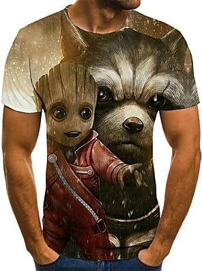 cheap Women's T-shirts-Men's Plus Size T-shirt 3D Graphic Animal Pleated Print Tops Street chic Round Neck Khaki / Short Sleeve / Summer