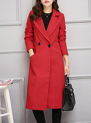 cheap Women's Coats & Trench Coats-Women's Coat Daily Work Basic Sophisticated Long Solid Colored Black / Red / Green S / M / L